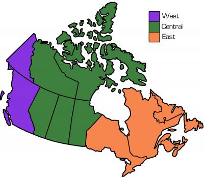 Three Region Map of Canada